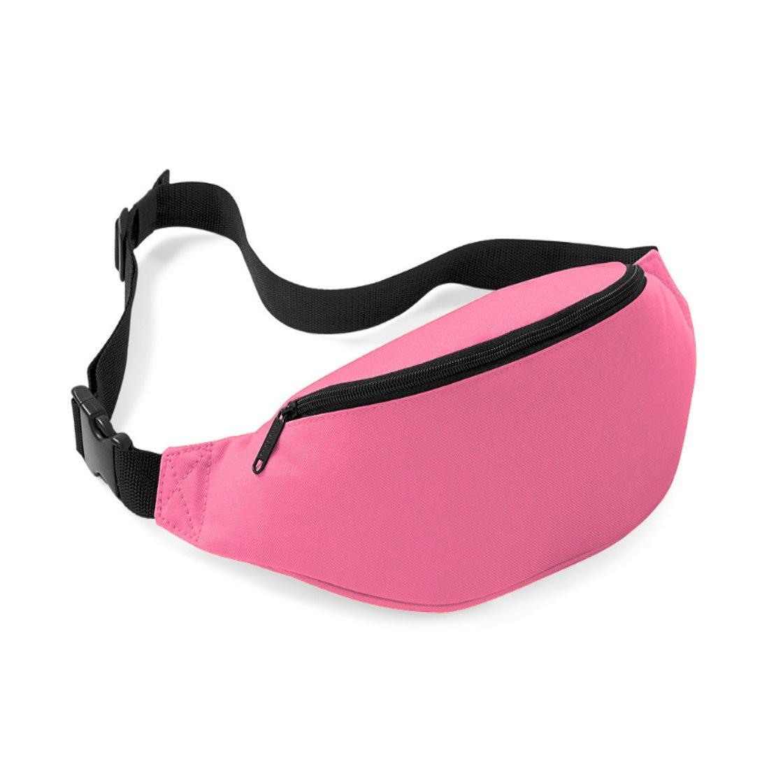 Unisex Men Women Fashion Sporty Multi-purpose 2-Zipper Waist Belt Bag Fanny Pack Adjustable Strap for Sport Hiking Traveling Passport Wallet (Pink) InnoLife