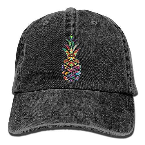 Qbeir Fruit Pineapple Adjustable Adult Cowboy Cotton Denim Hat Sunscreen Fishing Outdoors Retro Visor Cap Black -