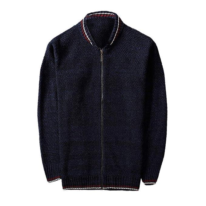 VEZAD Knitted Cardigan Autumn Winter Coat Men Leisure Baseball Collar Jacket at Amazon Mens Clothing store: