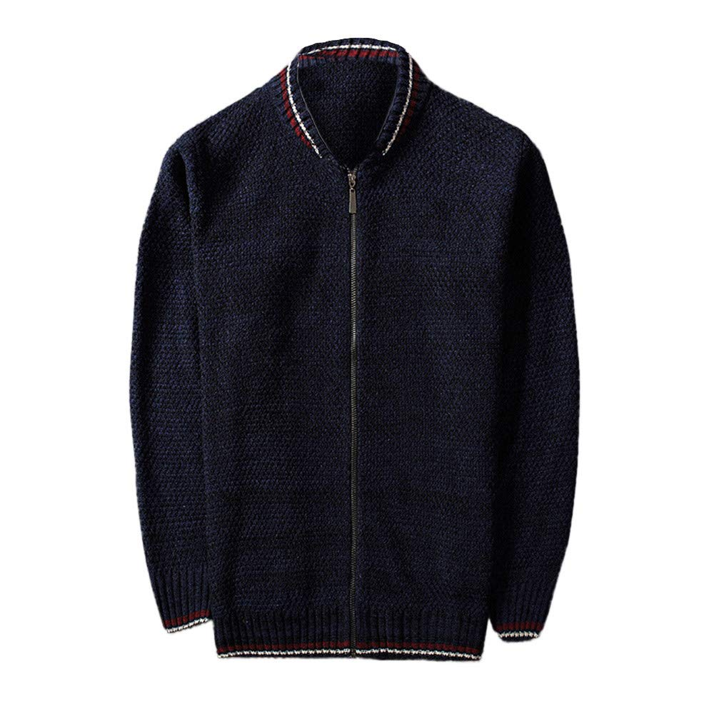 VEZAD Knitted Cardigan Autumn Winter Coat Men Leisure Baseball Collar Jacket at Amazon Mens Clothing store:
