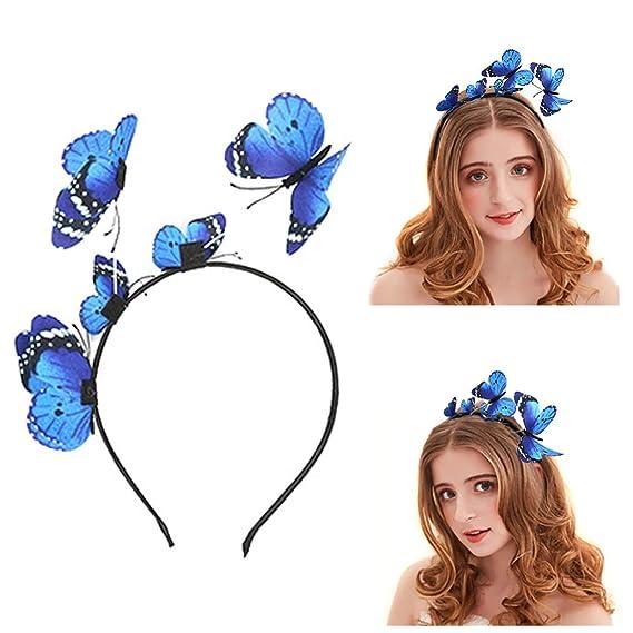 Diadema de fiesta con forma corona con mariposa para niña.