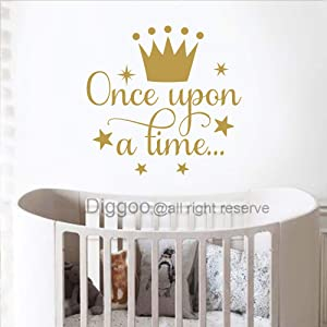 """Diggoo Once Upon A Time Wall Decal Quote Princess Crown Wall Decal Princess Room Decor Girls Nursery Wall Art Sticker (Gold,14"""" h x 14.5"""" w)"""