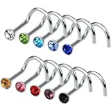 Rbenxia 20G 316L Nose Studs Rings 2.2MM Rhinestone Stainless Steel Nose Body Piercing Rings 10