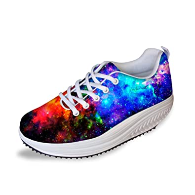 fa5245535ad7 HUGS IDEA Stylish Galaxy Printed Swing Platform Shoes Women Fitness Sneaker  US5