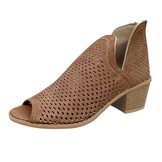 6f9fc162fcbd2 Amazon.com: Women Booties Chunky Low Heel Peep Open Toe Ankle Boots ...