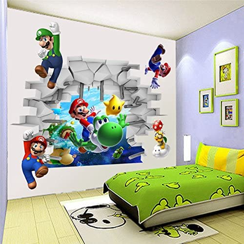 Super Mario Bros Kids Removable Wall Sticker Decals for Bedroom Living Room