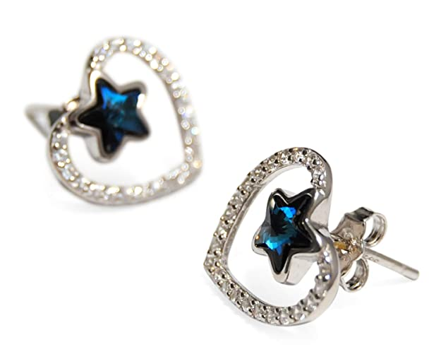 pendientes con forma de corazón en plata de ley 925 y cristales swarovski