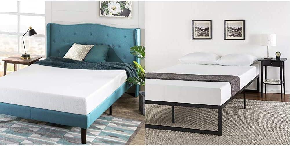 Zinus Green Tea 6-inch Memory Foam Mattress, King & ABEL 14 Inch Metal Platform Bed Frame with Steel Slat Support, Mattress Foundation, King
