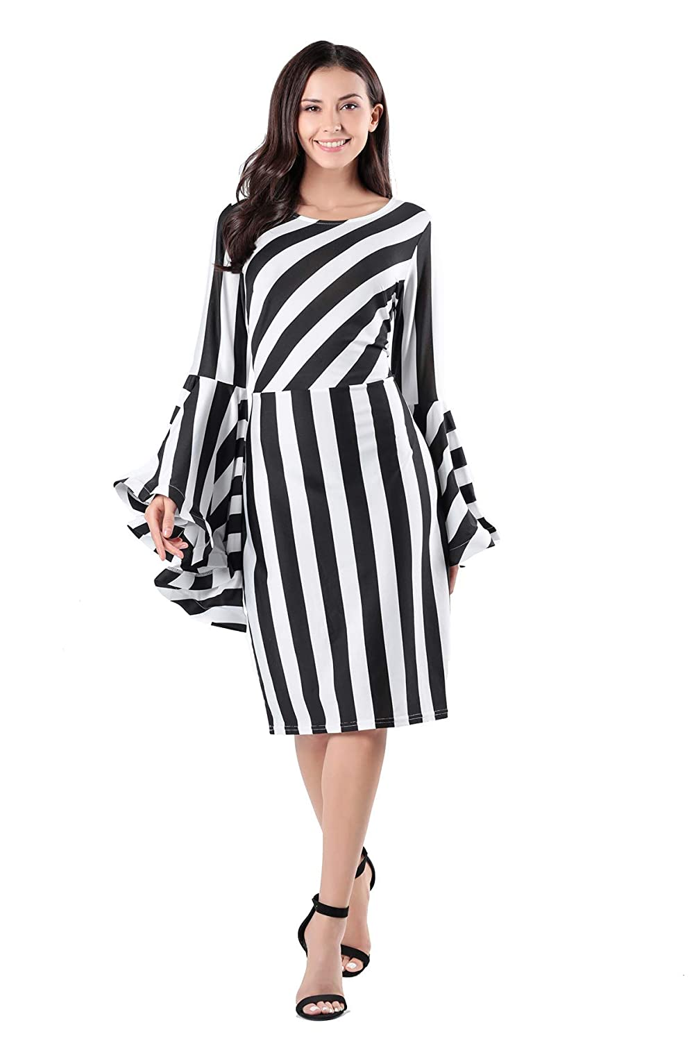 aa51b00385c Vcegari Women s Round Neck Plus Size Slim Cut Black and White Striped Long  Flare Bell Sleeve Dress at Amazon Women s Clothing store