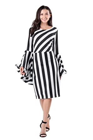 185605aa619 Vcegari Women s Round Neck Plus Size Slim Cut Striped Long Flare Bell Sleeve  Dress (L