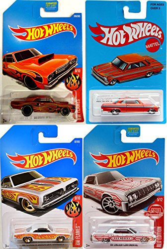 Low-Rider Hot Wheels Die-Cast Classics 4-Pack '68 Dodge Dart / '68 Plymouth Barracuda Formula S Flames + Exclusive Retro Blue '63 Chevy II & '64 Lincoln Continental Model in PROTECTIVE (Formula Large Bone)