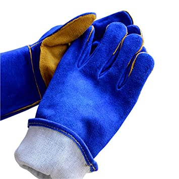 Soldadores guantelete Azul Con Amarillo Multifunción Soldadura Soldadura Guantes para MIG TIG ARC MMA Calor Resistente al fuego Seguridad Guantes de trabajo ...