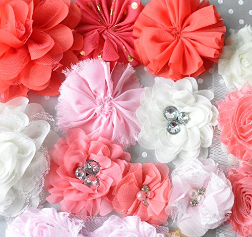 Coral, Light Pink, and Ivory Shabby Chiffon Fabric Flowers Mix for DIY Baby Headbands and Embellishments