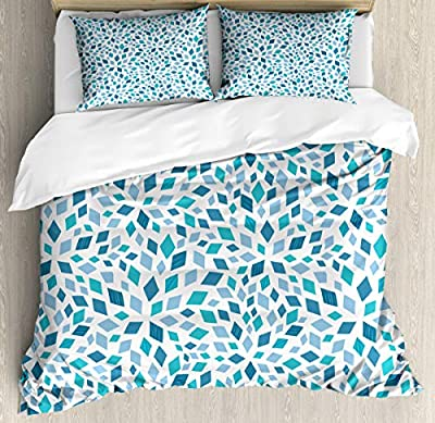 Bedding Set Abstract Mosaic Blue Tones Duvet Cover Set1 Duvet Cover + 2 Pillow Shams