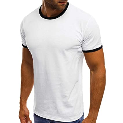 96d2fd7139d4 Amazon.com: Mens Short Sleeve Tops,Round Neck Shirts Super Soft Blouse Casual  Slim Fit Tunic Patchwork Loose Tee Tank Top: Office Products