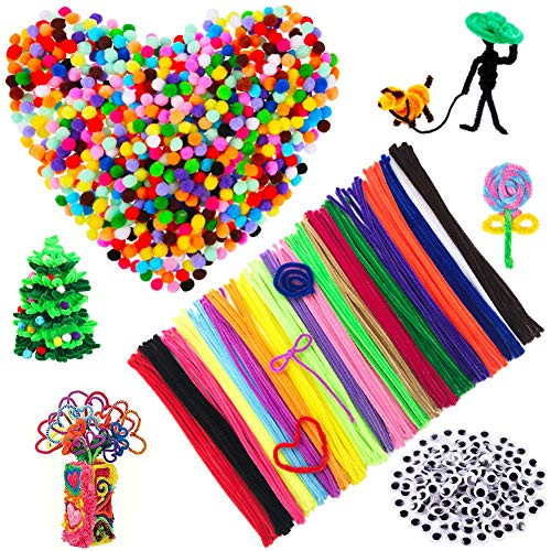 500 Pcs Craft Supplie Set,Pipe Cleaners including 200pcs Pom Poms,100pcs Chenille Stem and 200Pcs Wiggle Googly Eyes,School Classroom Home DIY Handmade Art Projects Gifts For Boys Girls Preschool Kids ()