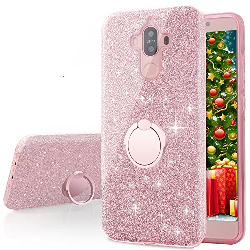 Mate Girl - Huawei Mate 9 Case, Silverback Girls Bling Glitter Sparkle Cute Phone Case With 360 Rotating Ring Stand, Soft TPU Outer Cover + Hard PC Inner Shell Skin for Huawei Mate 9 -Rose Gold