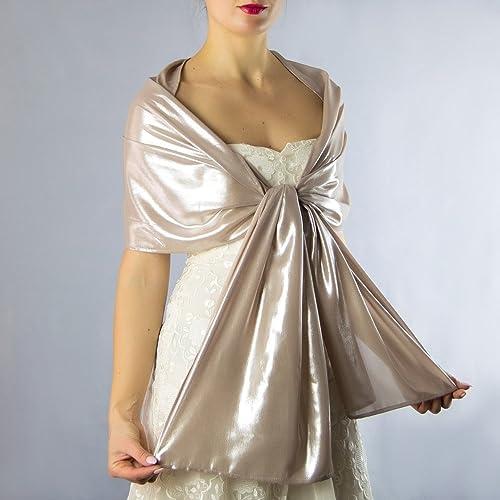Chal chiffon color bronce gris beige dorado novia boda novia para vestido de fiesta