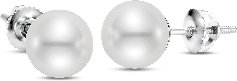ISAAC WESTMAN White Japanese Akoya Cultured Pearl Stud Earrings Screw Back AAA High Luster Pearls