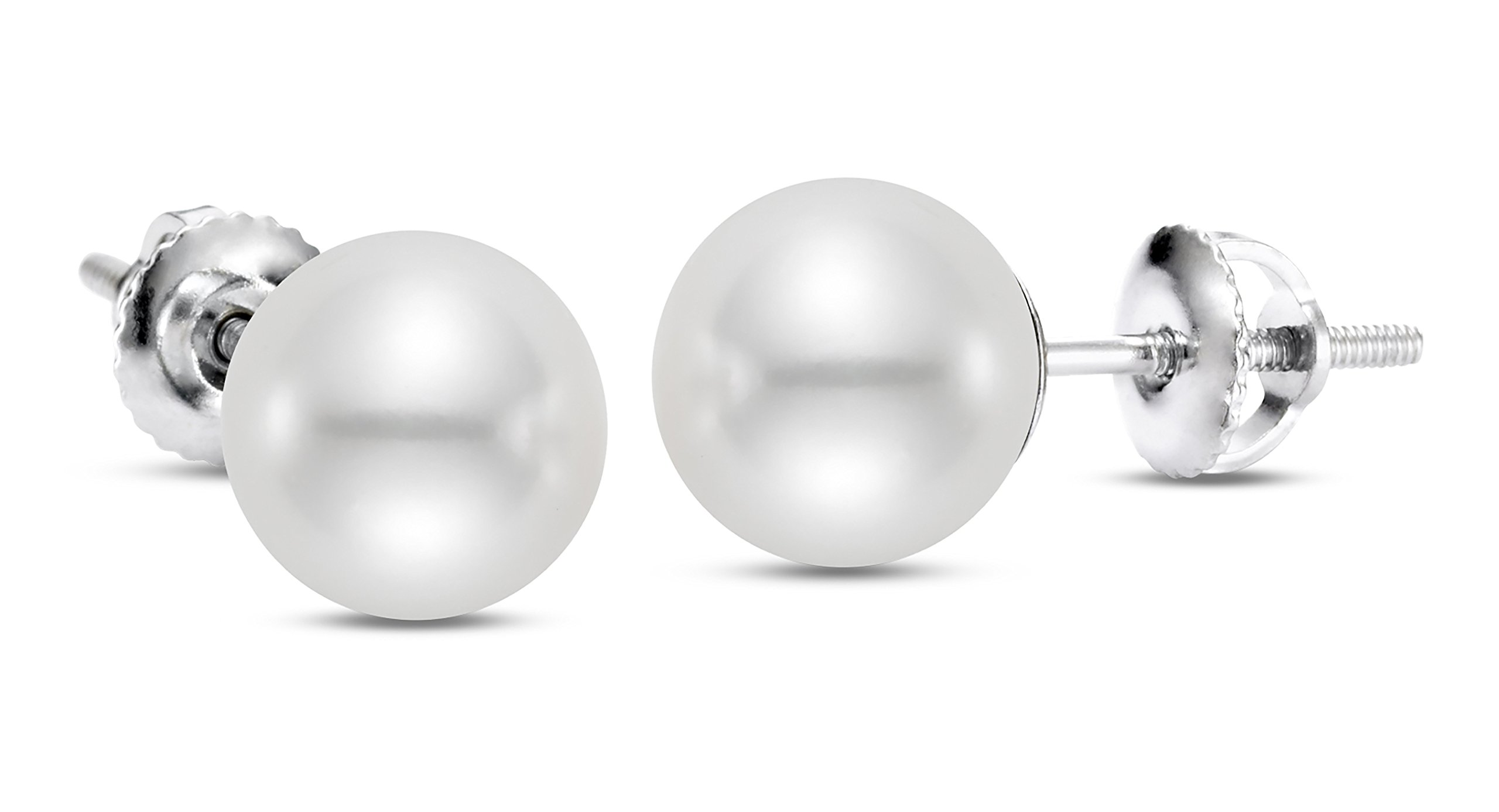 14K White Gold, White Japanese Akoya Cultured Pearl Earrings (7.0-7.5mm), AAAA Quality, Screw Back by ISAAC WESTMAN