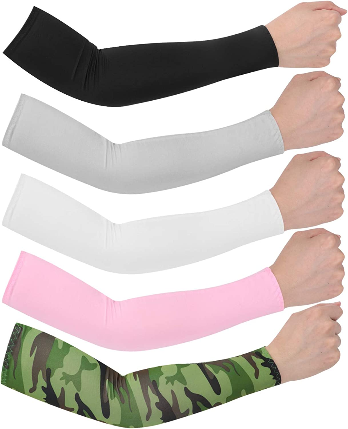 UV Sun Protection Cooling Sleeves Arm Sleeves for Men or Women Cycling Volleyball Baseball Basketball Golf Running Football 5 Pairs: Clothing