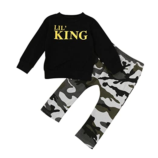 ba93faf2f1d1 Toddler Kids Baby Boy Lil  King T Shirt Tops+Camouflage Long Pants Outfits  Clothes