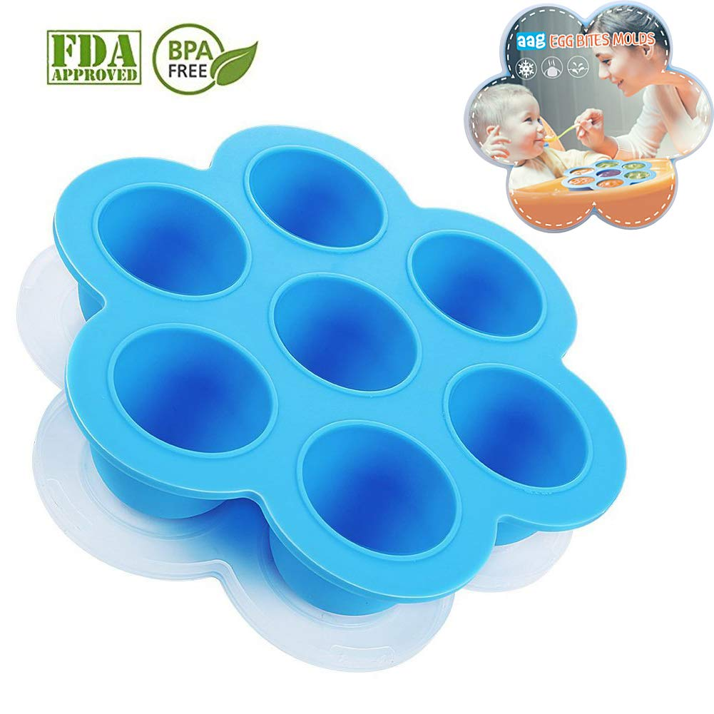 Aag Silicone Egg Bites Molds for Instant Pot Accessories,Food Freezer Trays Ice Cube Trays Reusable Food Storage Containers With Lid,Fits Instant Pot 5,6,8 qt Pressure Cooker,BPA Free, FDA Approved