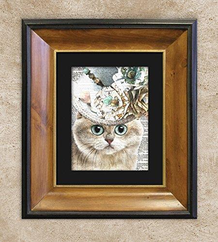 Demure British Shorthair Cat in Top Hat, Dictionary Cat Print, Cat Wall (Cat Hat Art)