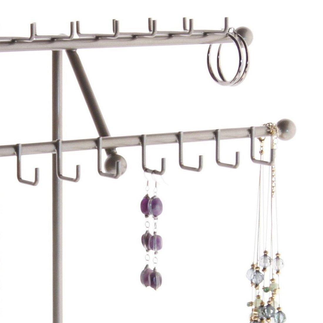 Angelynn's Necklace Holder Organizer Jewelry Tree Stand Storage Rack, Sharisa Satin Nickel Silver by Angelynn's (Image #4)