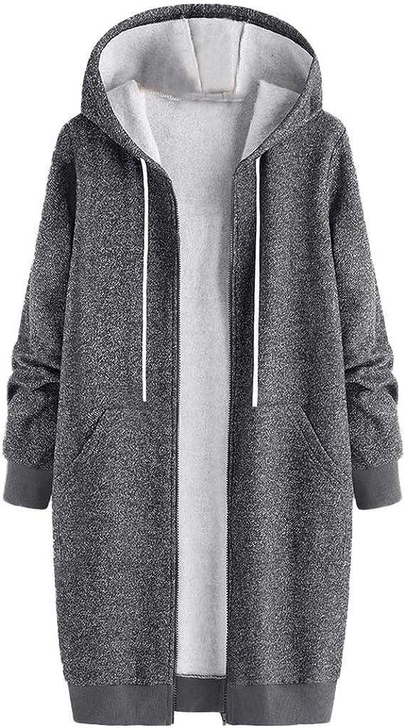 Yucode Women Hooded Pockets Coats Winter Warm Loose Outwear Plain Vintage Overcoat