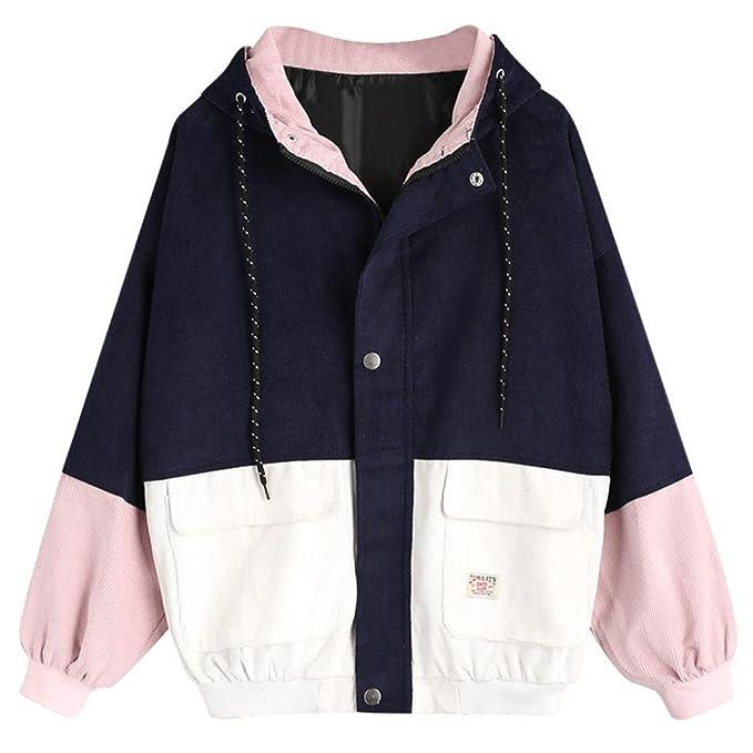 33c8673155ffef Oksale Women Winter Autumn Long Sleeve Corduroy Patchwork Oversize Jacket  Windbreaker Coat Overcoat (Navy