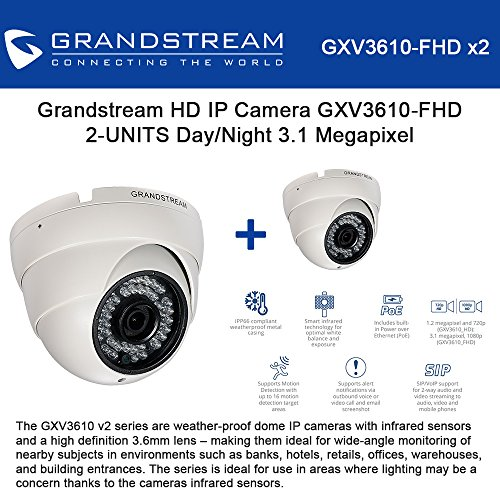 Grandstream HD IP Camera GXV3610-FHD 2 UNITS Day/Night 3.1 Megapixel