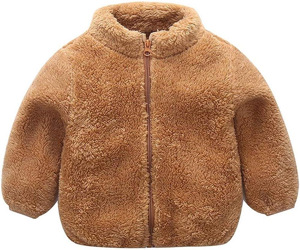 Weixinbuy Baby Boys Girls Solid Color Faux Fur Fleece Jacket Overcoat Zipper Up Winter Warm Plush Coat