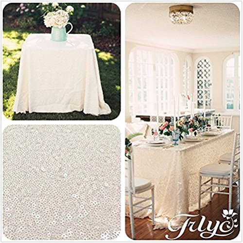 TRLYC 60 x 120-Inch Rectangular Sequin Tablecloth Ivory ()