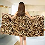 huhushengwei Brown Bath towel Leopard Print Animal Skin Digital Printed Wild African Safari Themed Spotted Pattern Art Cotton Beach Towel Brown (55''x28'')