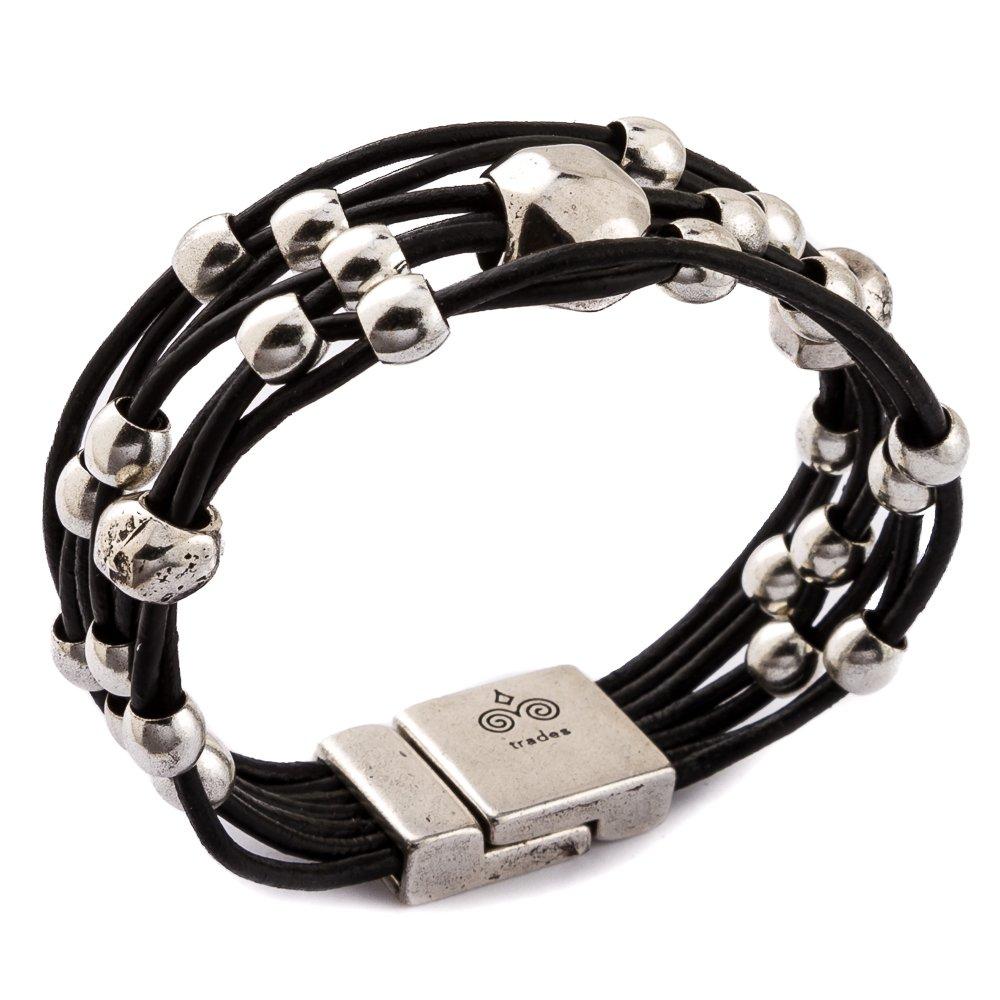 Trades by Haim Shahar Loni Leather Bracelet MB670BB handmade in Spain magnetic clasp designer