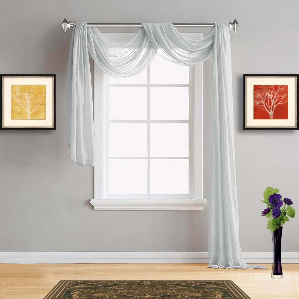 Warm Home Designs Standard 54'' (Width) x 144'' (Length) Sheer Silver (Light Grey) Window Scarf. All Premium Valance Scarves are Great for Any Window, Bed, Wall or Other DIY Project. K Silver 144''