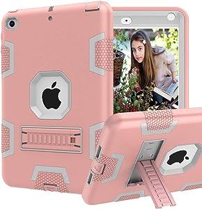 "CCMAO iPad Mini 5 Case, iPad Mini 4 Case, Hybrid Three Layer Armor Shockproof Rugged Drop Protection Cover Case Built with Kickstandfor Apple iPad Mini 5th Generation 7.9"" 2019 (Rose Gold)"