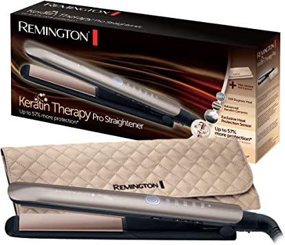 Comprar Remington S8590 Keratin Therapy Pro - Plancha de Pelo Profesional, Cerámica, Digital, Keratina, Aceite Almendras, Color Bronce