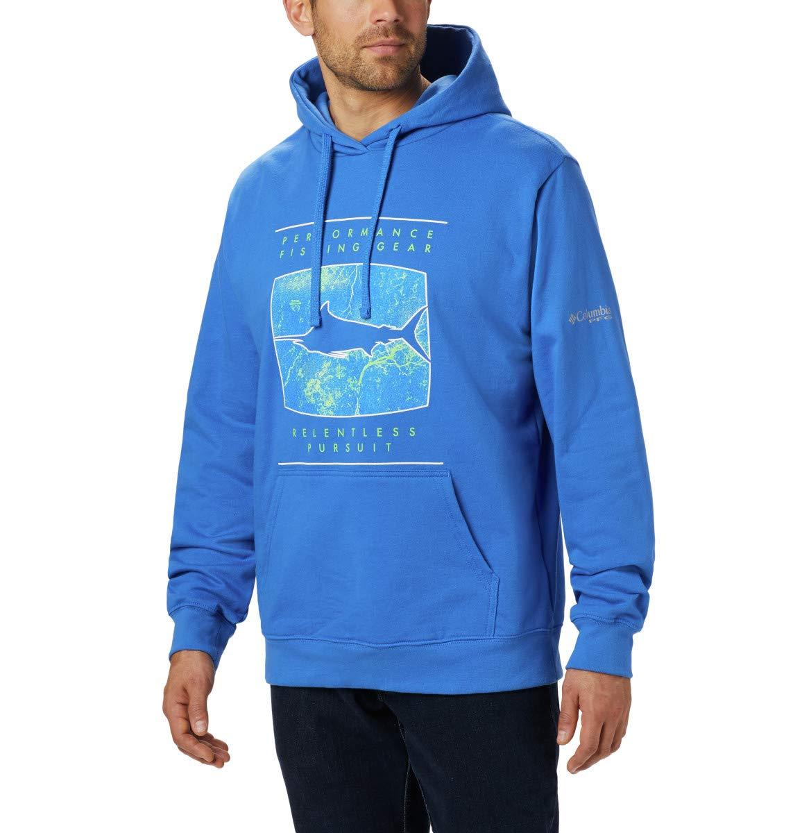 Columbia Men's PFG Triangle Seasonal Hoodie, Vivid Blue, Marlin Realtree Mako Print, Large by Columbia