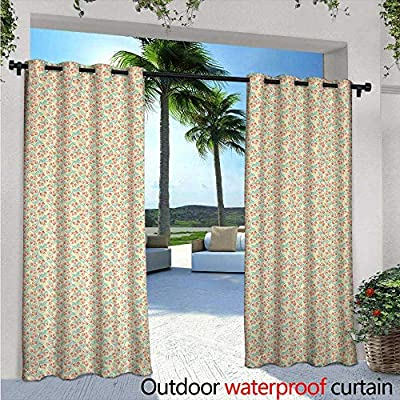 Spring Outdoor- Free Standing Outdoor Privacy Curtain Tulips with Fresh Leafage Botanical Seasonal Flora on Ivory Background for Front Porch Covered Patio Gazebo Dock Beach Home Ivory Coral and Green