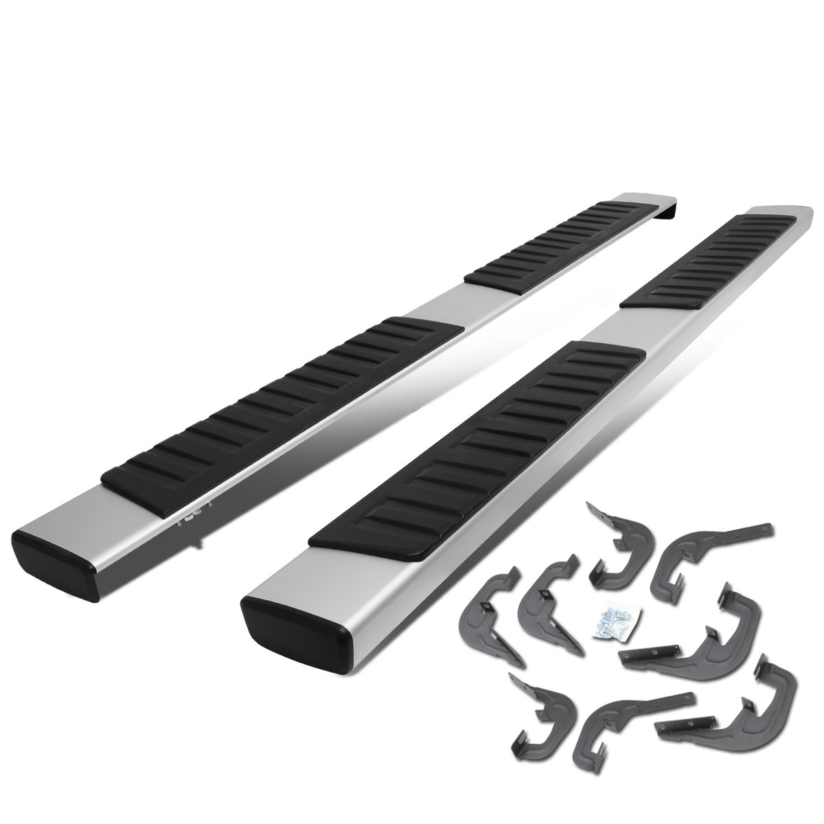 For 07-18 Chevy Silverado/GMC Sierra Crew Cab Pair OE Style Aluminum 6'' Side Step Nerf Bar Running Boards