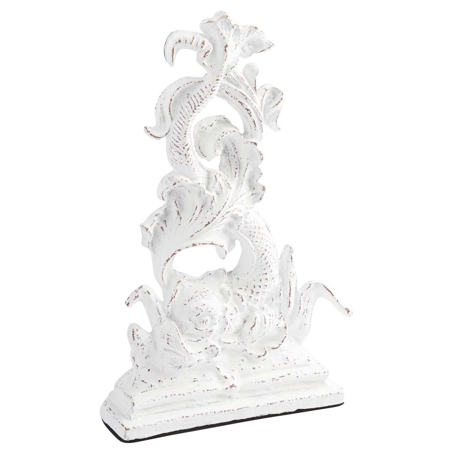 Naiture Cast Iron Dragon Doorstop in Distressed White Finish by SH