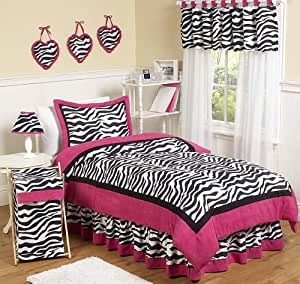Sweet Jojo Designs 4-Piece Hot Pink, Black & White Funky Zebra Children's and Kids Bedding Girls Twin Set