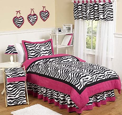 Amazon.com: Hot Pink, Black & White Funky Zebra Childrens and Teen ...