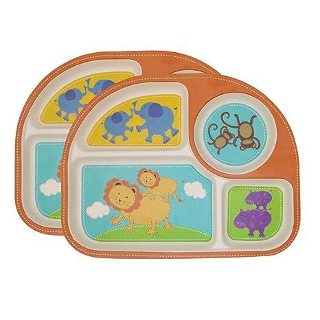 EULANT Platos Compartimento para Bebé, 2pcs Cuberteria Infantiles Bambu, Set de Vajilla Infantil Seguro