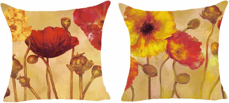Queen's designer Set of 2 Red Poppy Flower Oil Painting Retro Pillows Cotton Linen Decorative Home Office Throw Pillow Case Couch Cushion Cover 18X18 Inches