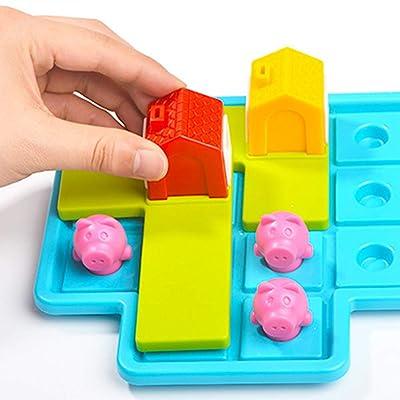 H87yC4ra Juego de Mesa de Rompecabezas para niños, Juguetes de información de Regalo de Rompecabezas de Tres cerditos, Juguetes educativos adecuados para niños en Edad Preescolar: Hogar