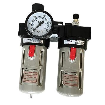 MagiDeal Bfc3000 Compresor De Aire Lubricador De Aceite Humedad Filtro De Agua Filtro Regulador: Amazon.es: Jardín