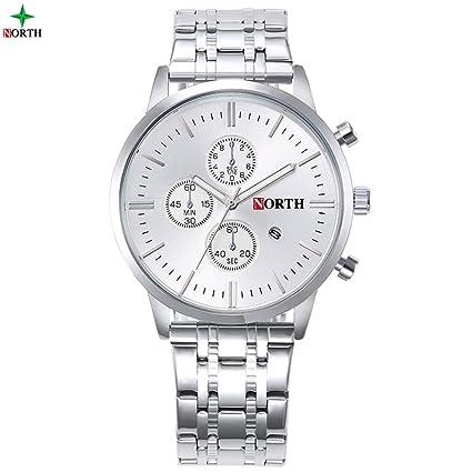 4 tipos reloj de cuarzo analógico reloj de cuarzo redondo correa de acero inoxidable fecha luminoso